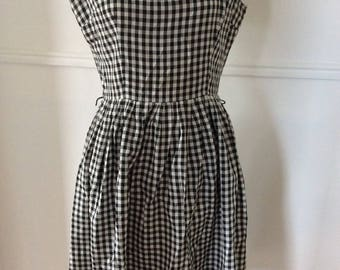Vichy dress black and with 1960
