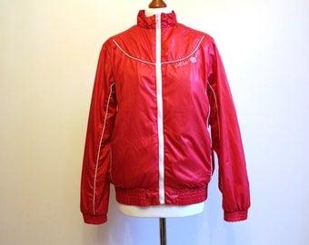 Red Women's Windbreaker Red Jacket Womens Outerwear Zipper Blazer Lightweight Parka Medium Size