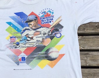 Vintage 1991 Toronto MLB All Star Game T-shirt Double Sided American League / National League (One Size) Made in Canada