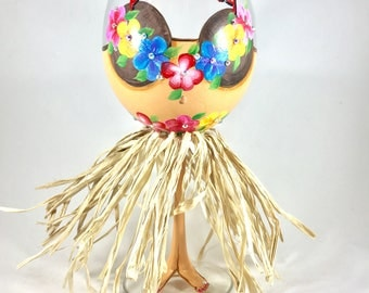 Aloha hula dancer wine glass with grass skirt, coconut bra, and sparkly lei, a fun gift for housewarming, retirement, hostess or friend