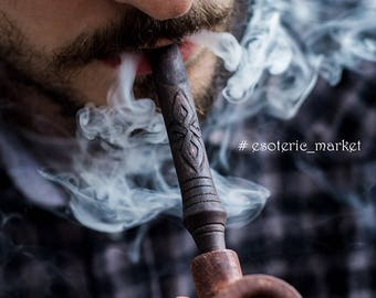 Wood Viking Tobacco Smoking Pipe |  Tobacco bowl. Wooden carved pipe/Scandinavian Collectible