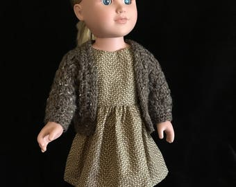 """18"""" doll Sweater and Dress Set in brown, tan, beige geometric design, for that birthday girl, the collector or any occasion"""