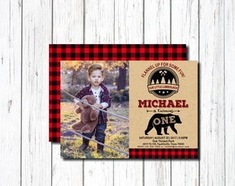 Lumberjack Birthday Invitation, 1st Birthday Invitation, with Picture, First Birthday Invitation, Boy, Woodland Bear, wild