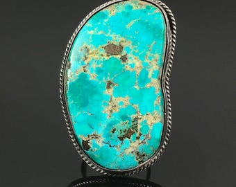 HUGE Turquoise Navajo Sterling Silver Statement Ring