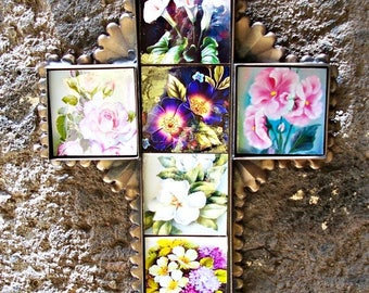 "Flowers art cross Mexican folk art ceramic tiles and metal collection display of beautiful floral decor wall art 8 3/4"" x 7""x 0 .5"""