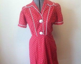 Vintage 1940s Cotton WW2 Style Pinup Dress