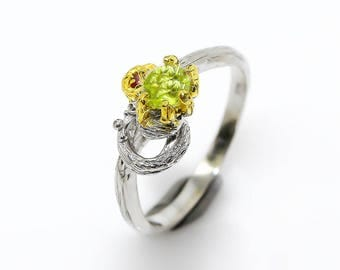 Natural Peridot Ring, Silver Branch Ring, Twig Band Ring, August Birthstone green ring, knot ring, twist ring, garnet ring, birthday gifts