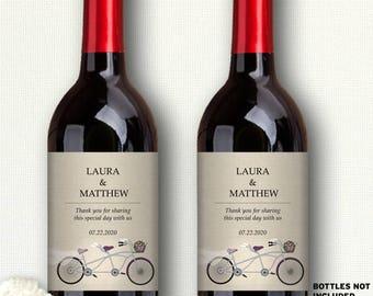 "Printable Purple Tandem Bicycle Faux Linen Wine Bottle Labels; Personalized 4"" x 5"" Labels - Editable PDF, Instant Download"