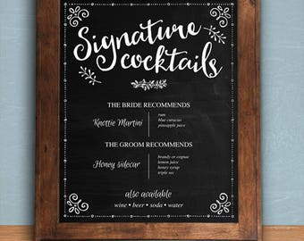 "Printable Chalkboard Signature Cocktails Bar Sign - Black, 8""x10"", Editable PDF, Instant Download"
