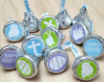Printable Easter Holiday Symbols Chocolate Kisses Stickers Labels; (non-editable) PDF, Instant Download