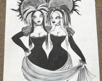 "Gemini Daughters | Original Ink Illustration 11""x14"""