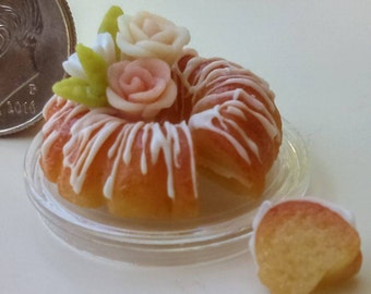 Dollhouse Minaiture One inch Scale 1:12 Bundt Cake by CSpykersMIniaturesUS