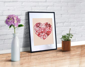 Modern cross stitch pattern heart, geometric modern art, wall decor cross stitch pattern