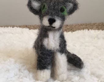 Needle-Felted Gray and White Cat