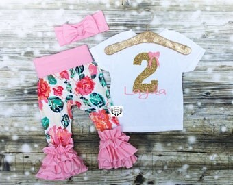 Second Birthday Outfit Girl,Second Birthday,Floral, Gold Glitter,2nd Birthday Outfit Girl,2nd Birthday Outfit,Floral Ruffle Leggings