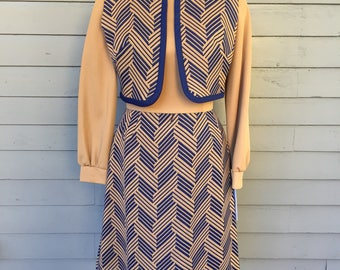 60's 70's Long Sleeve short Dress Matching Vest | Scooby Doo | Hipster | Mod | Size XS