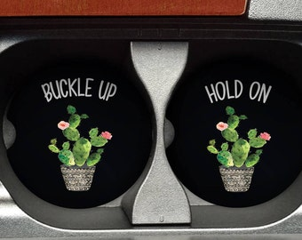 Cactus Car Coasters - Cup Holder Coaster - Car Coaster Set - Cactus Coasters - Car Coasters - Coasters for Car - College Student Gift