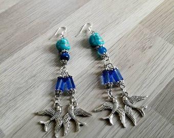 Blue hook dangle earrings 925 sterling silver, Swarovski Crystal, Bohemian, swallows, rockabilly, rock, agate, howlite