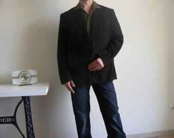 Mens Brown Corduroy Blazer Vintage 1980s Cord Blazer Sport Coat Classic Outerwear Boyfriend Gift . size Large Extra Large