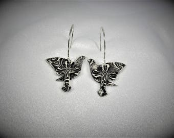 "Item 4184 - ""Dove & Cross"" Collection - 999 Fine and 925 Sterling Silver Hand sculpted carved textured Lightweight Dove and Cross Earrings"