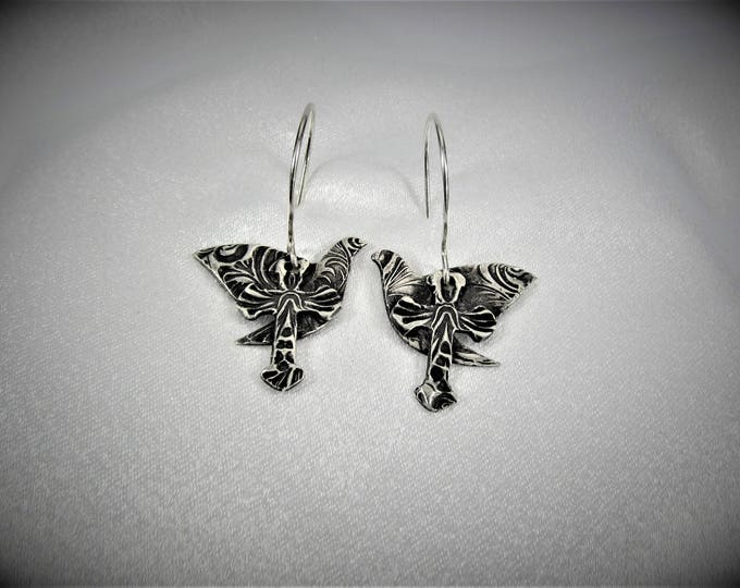 """Featured listing image: Item 4184 - """"Dove & Cross"""" Collection - 999 Fine and 925 Sterling Silver Hand sculpted carved textured Lightweight Dove and Cross Earrings"""