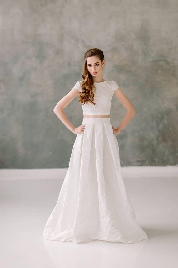 Wedding dress bridal separates two piece wedding dress boho like this item junglespirit Choice Image