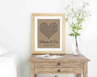 Wedding Song Lyric Art- Anniversary Gift- First Dance Song- Framed Song Lyrics- First Dance Lyrics- Wedding Gift- Custom Song Lyrics-
