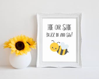 "He Or She Buzz In And See 8""x10"" Bee Baby Shower Decorations 