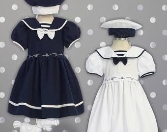Embroidery Sailor Dress with Hat
