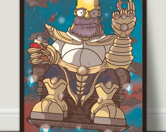 Avengers Infinity War Thanos, Homer Simpson, Limited Edition Art Print, Signed By Artist