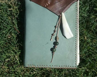 Leather bound cotton page journal/buffalo tooth