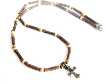 Mens cross necklace, coconut necklace, mens wood beaded necklace, mens cross wood necklace, cross coconut necklace, italian jewelry