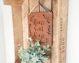 Home Sweet Home Metal Sign - Galvanized Farmhouse Decor, Fixer Upper Style
