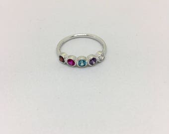 Mothers Birthstone Ring, Five Birthstone Ring- Mothers Ring- Mothers birthstone ring- 5 Birthstone Ring- Personalized Jewelry- Family Ring