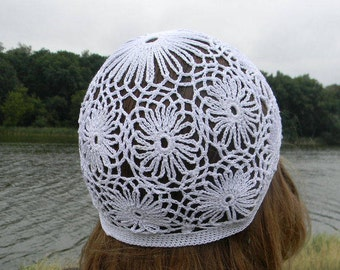 Summer beanie Summer knit skull cap for woman hat lace White Crochet hat beach hat Laced hat Cotton hat for girlfried summer accessories