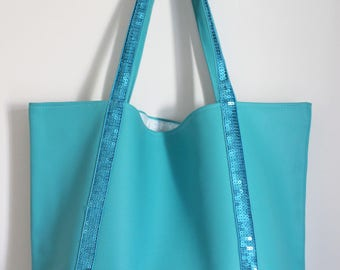 Large tote bag in faux turquoise leather and turquoise glitter band