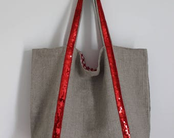Maxi tote bag in natural linen and red glitter band