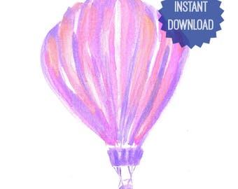 Printable, Purple Hot Air Balloon, Watercolor Print, Nursery Decor, Kids Room Decor, Pink and Purple, Instant Download, Gift for Her
