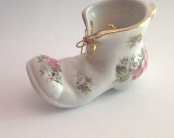 Vintage Staffordshire Ceramic Shoe OLD FOLEY James Kent Ltd. Harmony Rose England