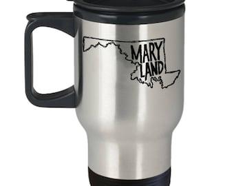 Maryland Travel Mug, Thermal Coffee Mug, Maryland Mug, State of Maryland