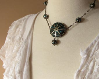 antique lavalier necklace with inlaid turquoise chip beads - Edwardian jewelry
