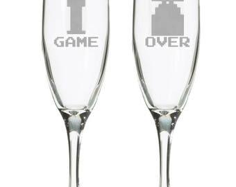 Game Over Champagne flutes, Geeky Wedding, retro 8 bit, Retro gaming toasting glasses, nerdy wedding gift, 8 bit, video game wedding