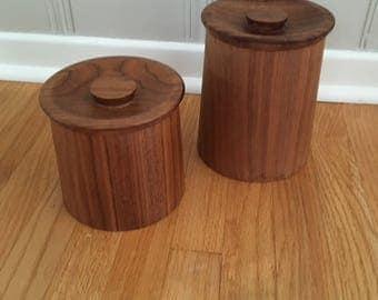 Pr. Vintage Mid Century Modern/Danish Modern Teak Canisters/Kitchen containers/storage