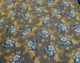 Molly B's Studio-A Hint of Print-Blue Flowers Cotton Fabric from Marcus Fabrics
