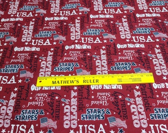Patriotic Words on Red Cotton Fabric