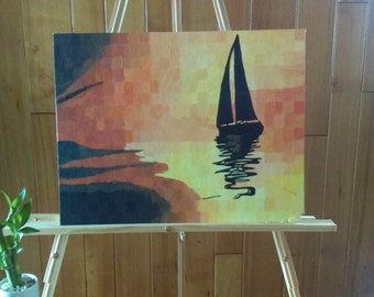 Sailboat at Sunset Painting