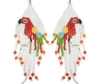 Earrings Woven glass beads parrot pattern