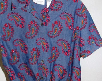 Liz Claiborne Pretty in Paisley Vintage 1960's Front Tie Cotton Crop Top Women's Medium