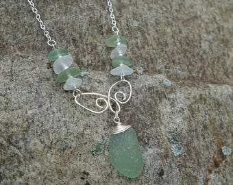 Genuine Sea Glass Wire Wrapped Necklace, Barcelona Spain, Unique One of a Kind Gift for Her, Beach Jewelry, Ocean Jewelry, Christmas Gift