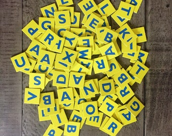 Yellow and Blue Cardboard Scrabble Game Pieces or Alphabet Tiles Set of 100